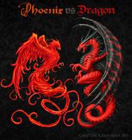 Phoenix vs Dragon by amorphisss