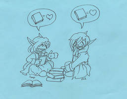 WoW - Chibi Book Love - inked by Ani-Meg