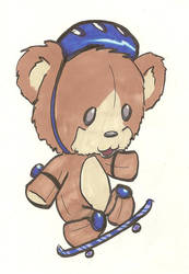 Skate boarding bear