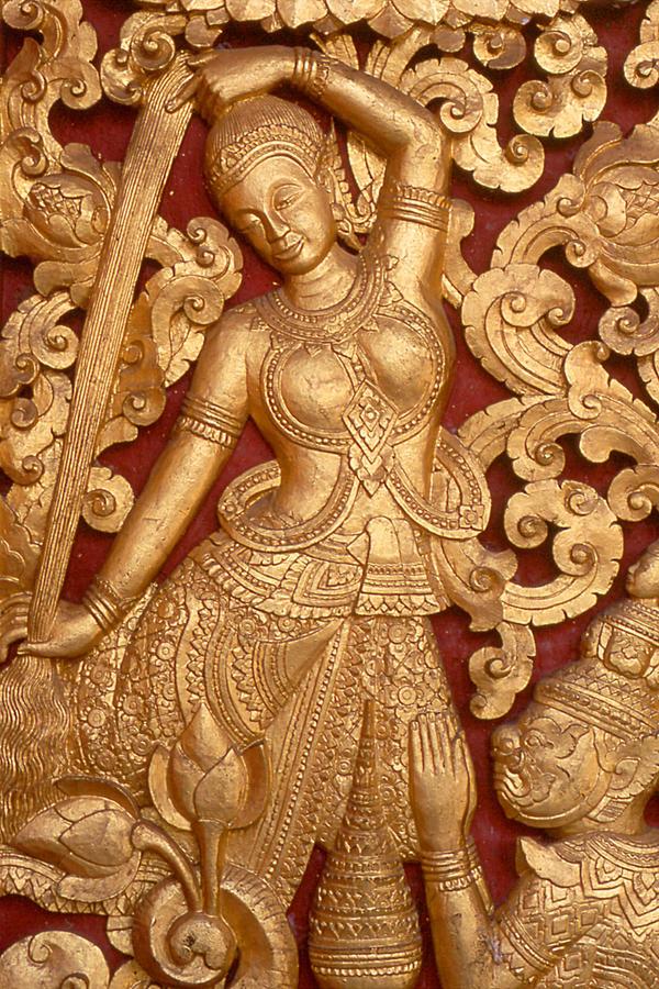 Temple Detail (Laos) by drewhoshkiw