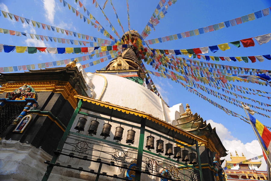 Flagged Stupa (Katmandu, Nepal) by drewhoshkiw