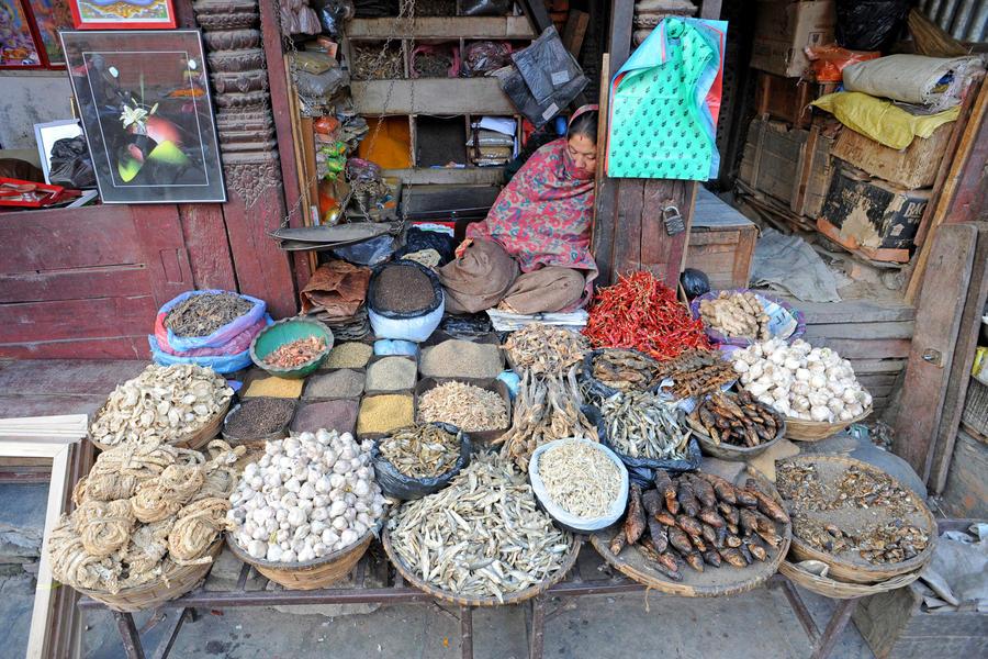 Market Scene (Katmandu, Nepal) by drewhoshkiw