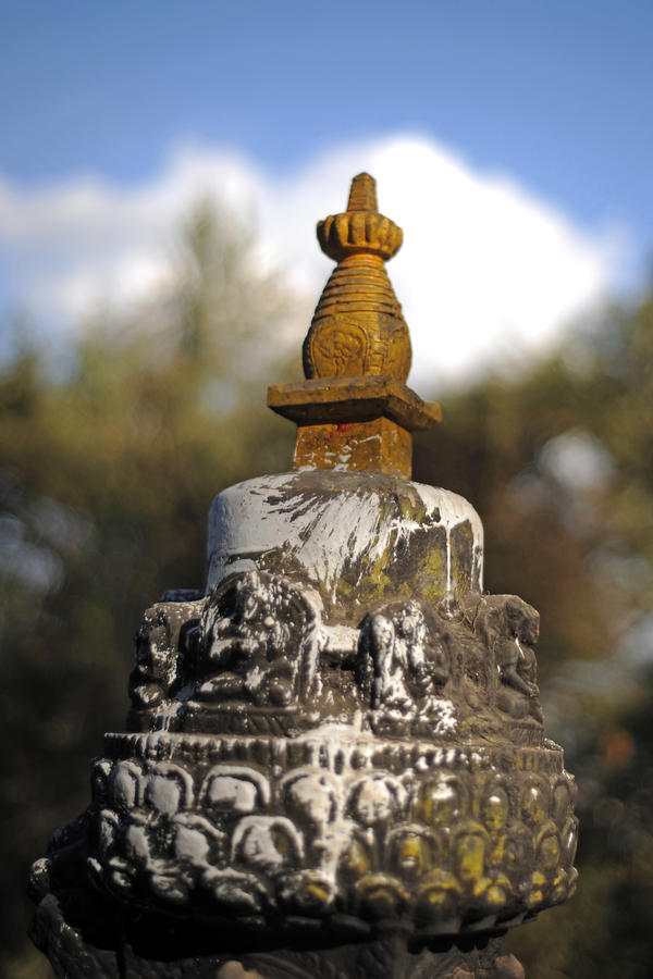 Temple detail (Katmandu, Nepal) by drewhoshkiw