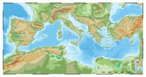 Mediterranean topographic map