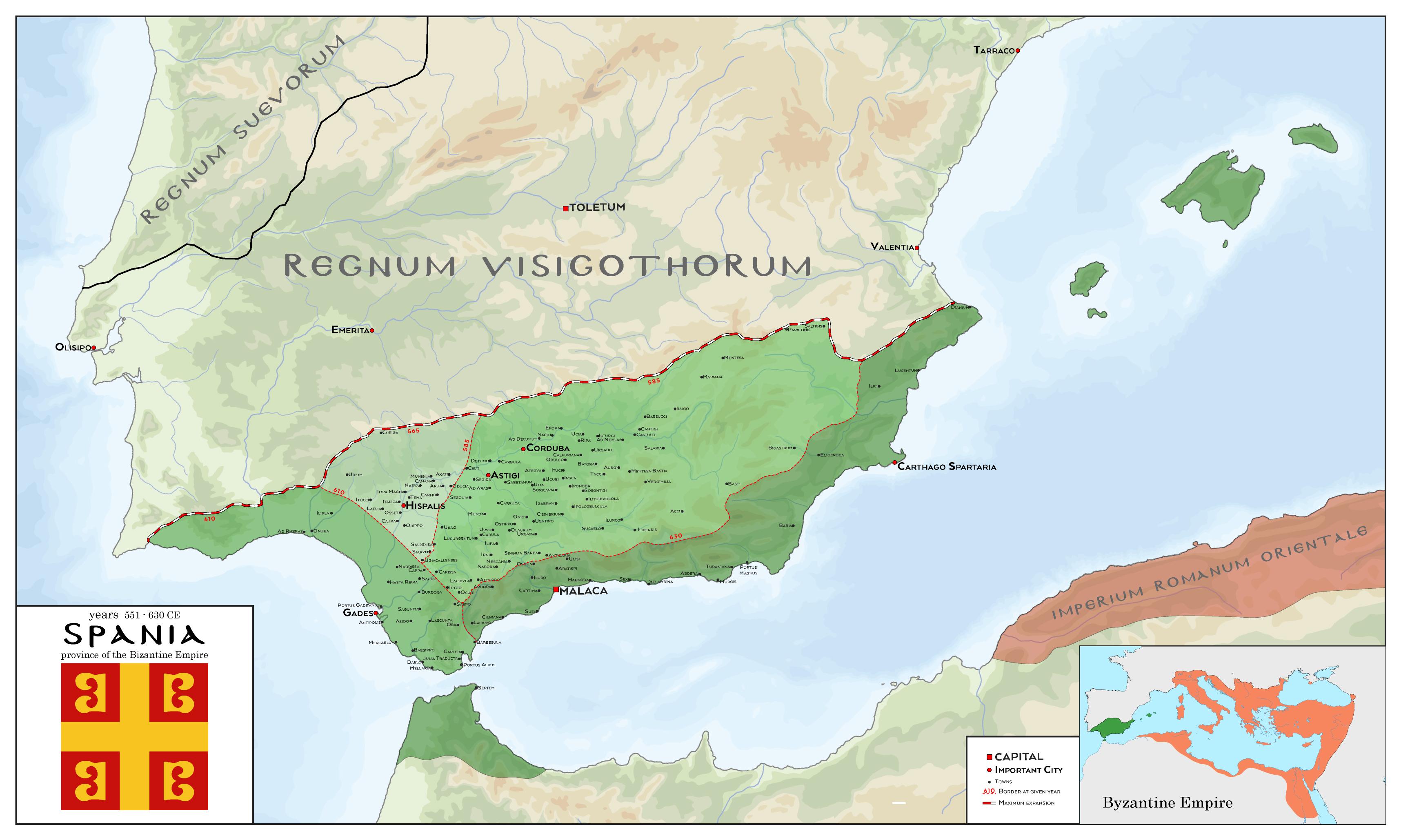Spania - Bizantine Empire Province 551 - 630 CE by SalesWorlds