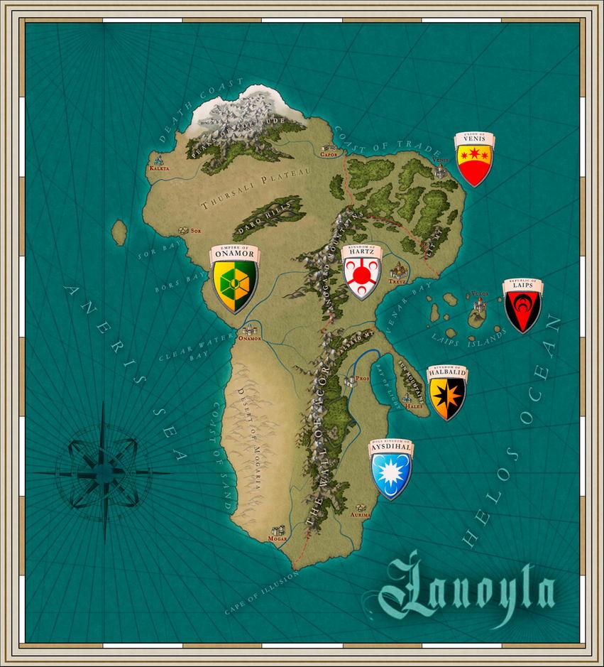 Lanoyta fantasy map by SalesWorlds