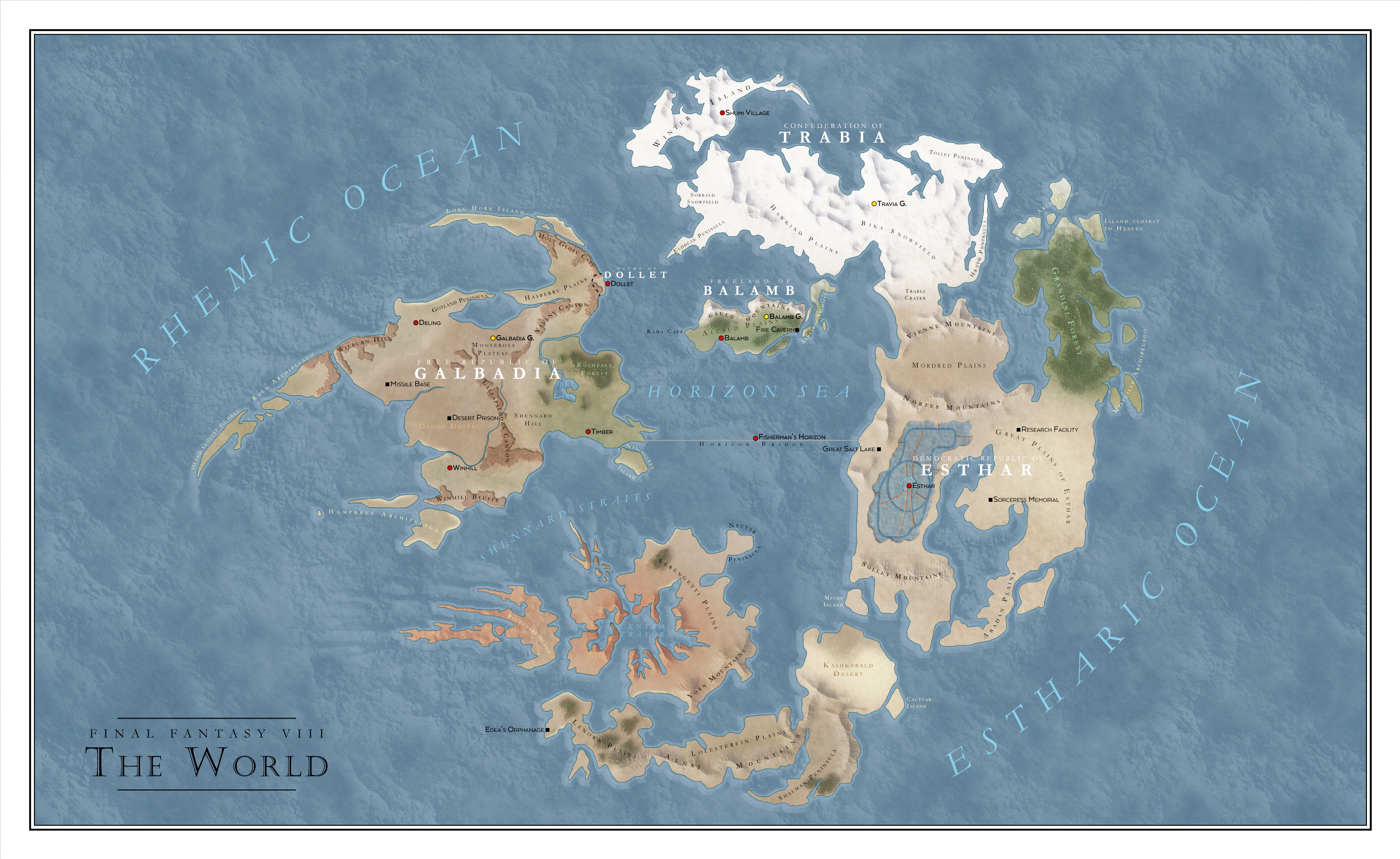 Final Fantasy VIII World map by SalesWorlds