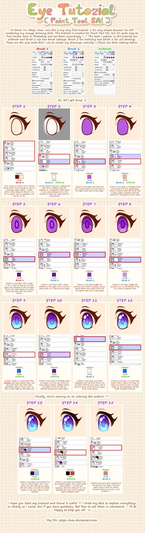 Anime-style Eye Tutorial [Paint Tool SAI] by Nukababe