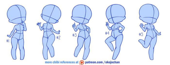 Chibi poses reference (chibi base set #3) by Nukababe