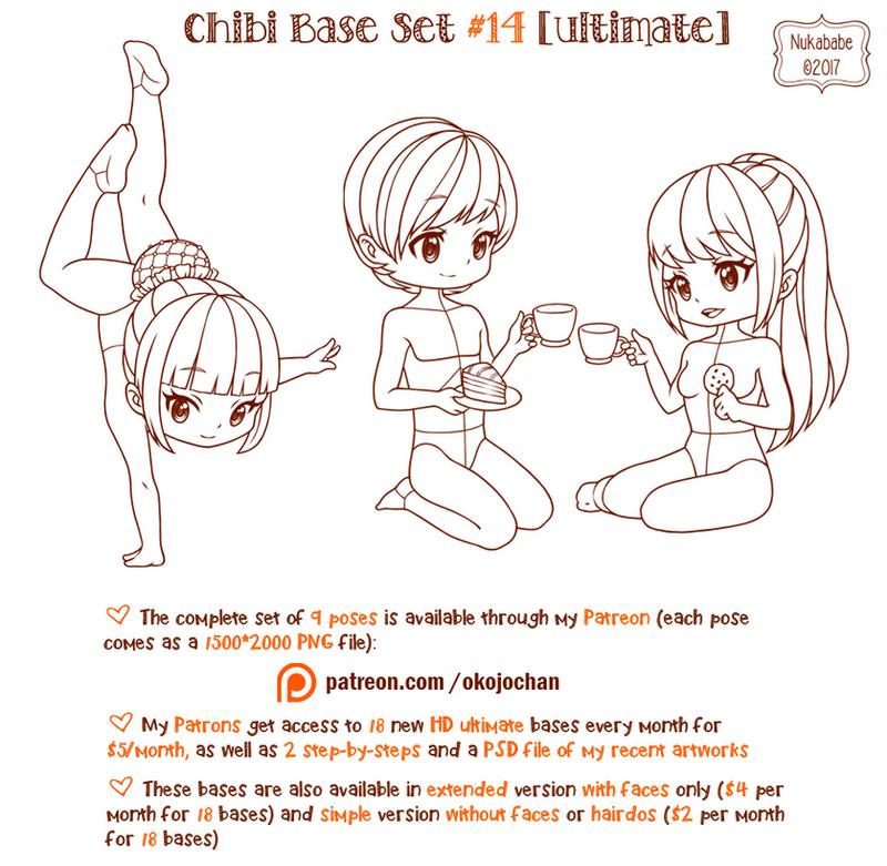 Yamio Lineart : Chibi pose reference ultimate base set by