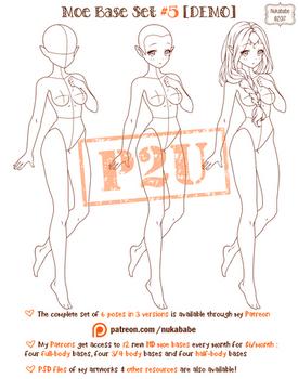 Female Pose Reference   P2U Base   Moe Reference by Nukababe