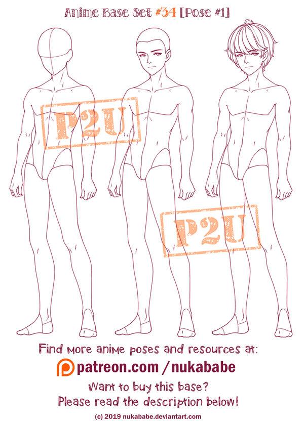 Male Pose Reference | Anime Base | P2U Base by Nukababe on ...