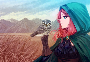 Girl With Owl by Nukababe