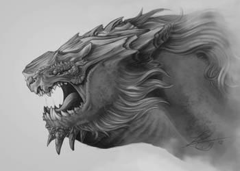Mountain Dragon In Grayscale by KatrineTindlund