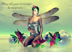 Orchid Faerie Holiday Greeting by sandrabauser