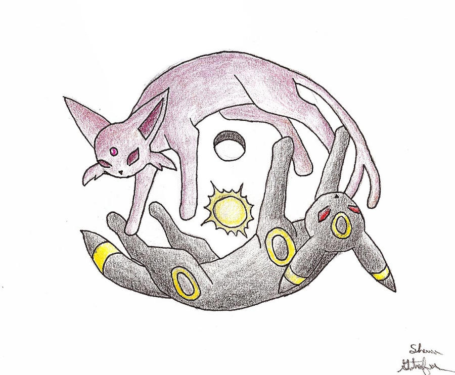 Umbreon and Espeon yin-yang by Om-nom-nomnivore