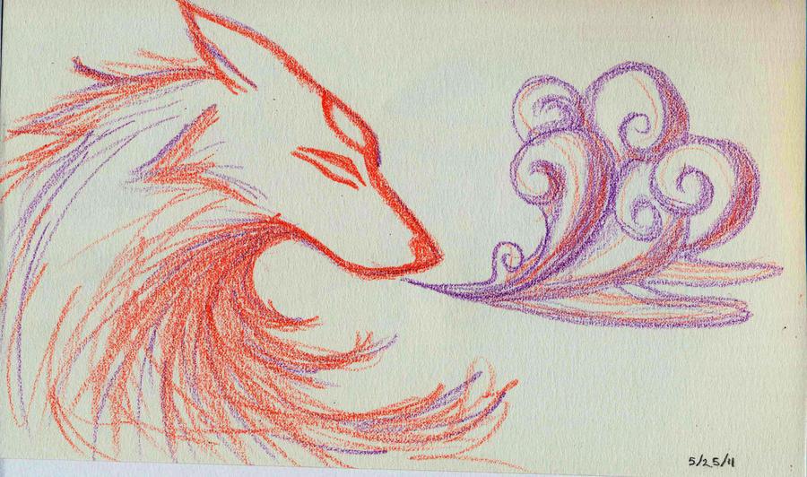 Crayon Okami by Om-nom-nomnivore
