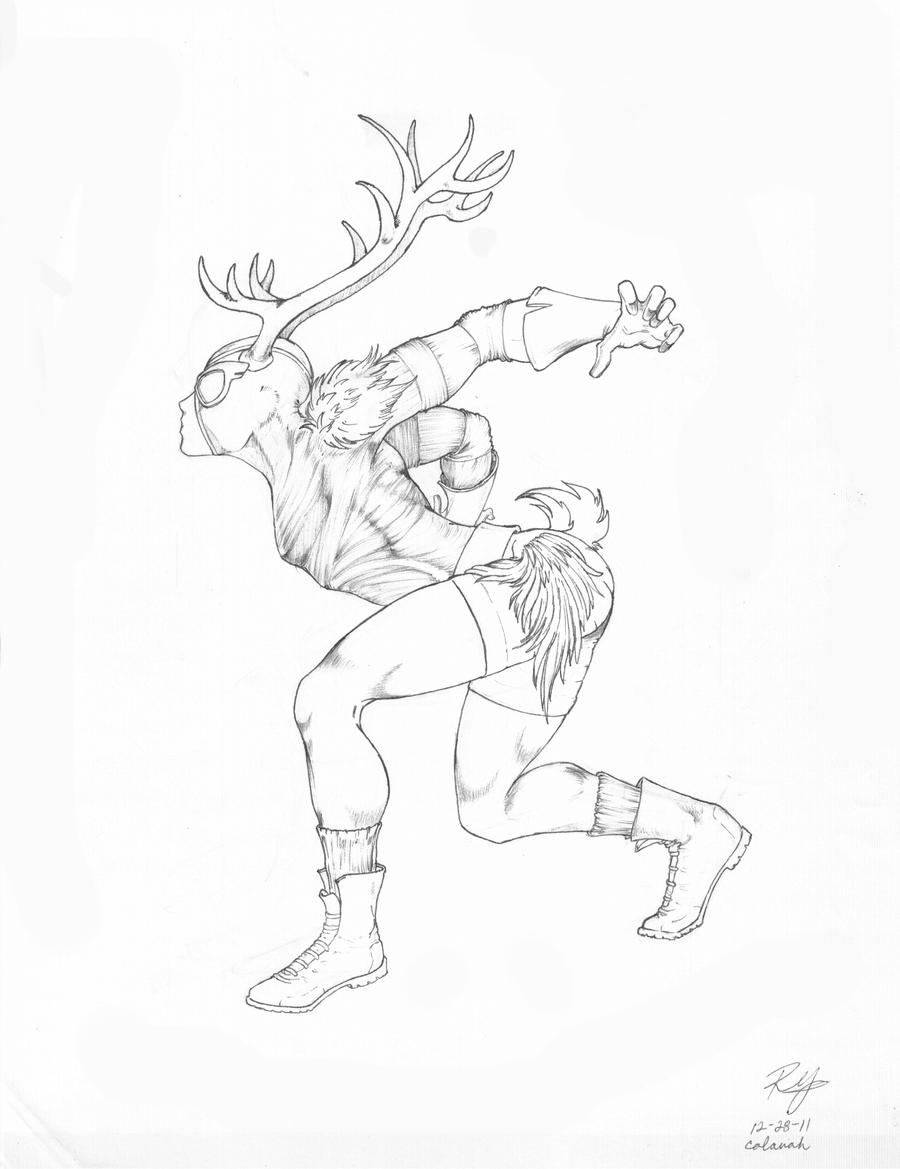 Line Drawing Deer : Danger deer line art by colanah on deviantart