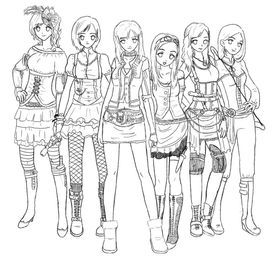 Steunk Girl Gang Lineart By Lemonfox2002 On Deviantart Coloring Pages Recolor