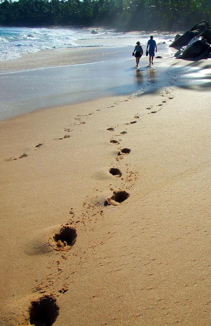 Footprints On The Beach By Lemonfox