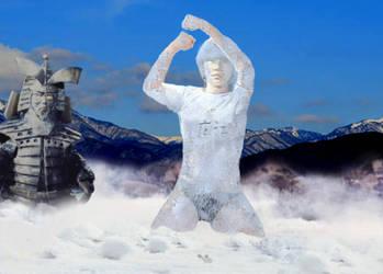 Ultrawoman H frozen by Kodaigon's blizzard! by sudo5348