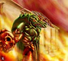 Aztec Caiman warrior by trantsiss