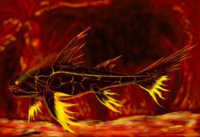 Fire Elemental Dunkleosteus (Thermantochasma) by Enneigard