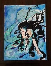 Malinconic blue mermaid