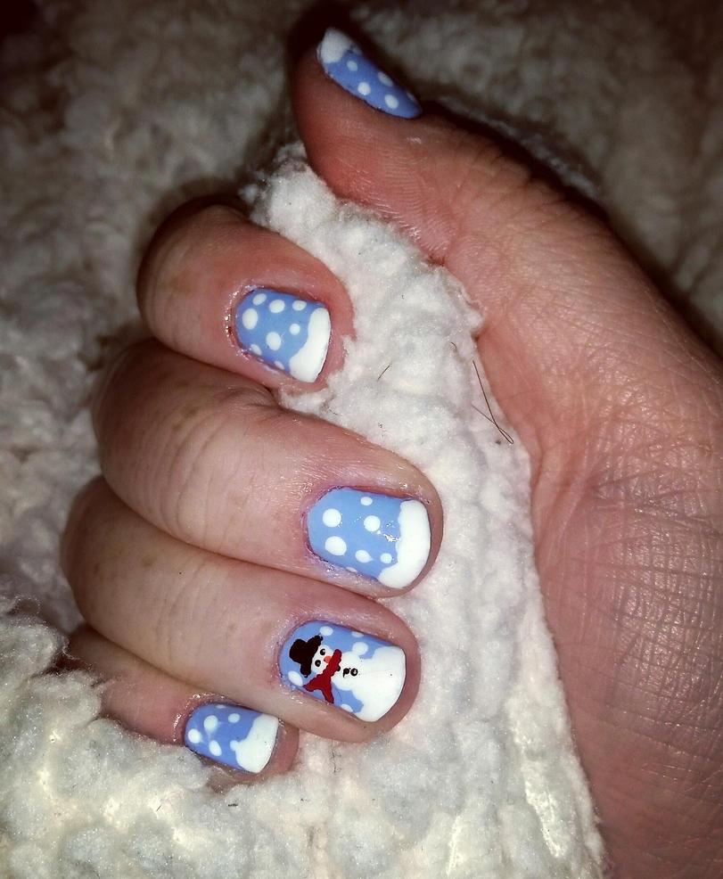 Snowman nailssss by Konami-hime