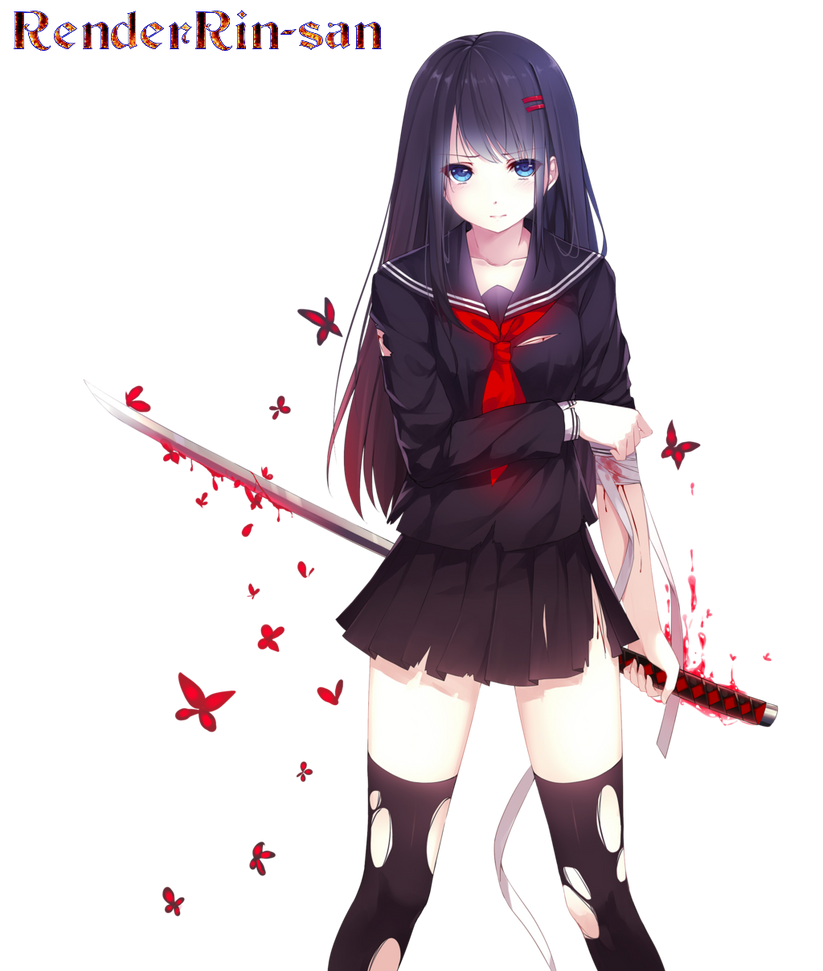 Anime Girl With Bloody Sword By Renderrin San On Deviantart