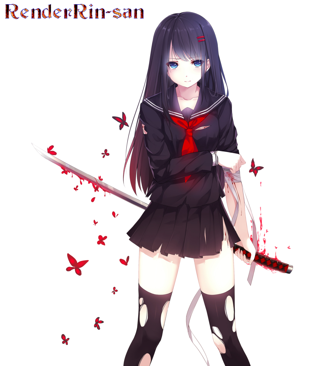 Anime Girl With Bloody Sword by RenderRin-san on DeviantArt