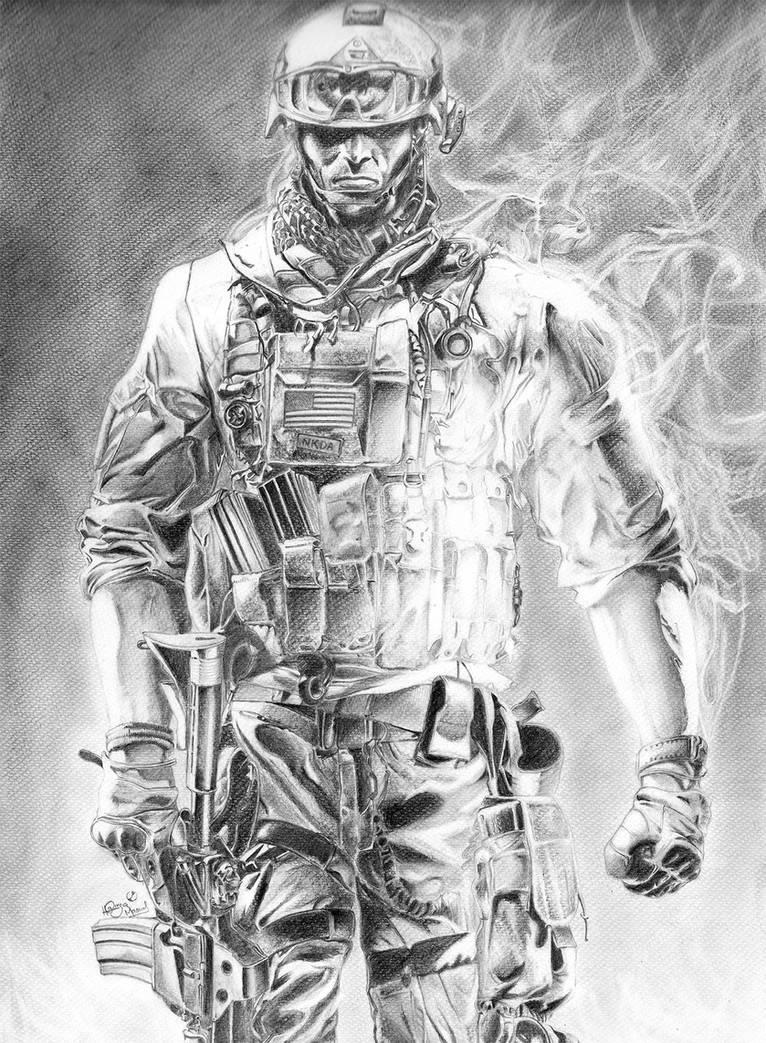 Battlefield 3 soldier pencil sketch by megaman ex