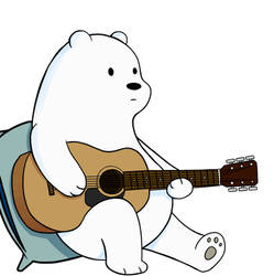 Ice Bear with Guitar - White background