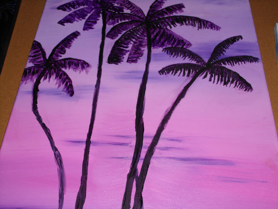 Purple Pink Sunset Palm Trees Oil Painting By DOHGirl01994ART