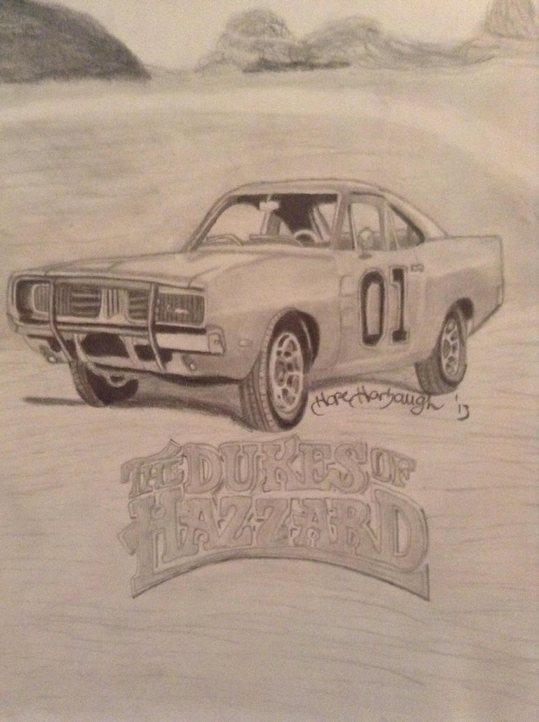 1969 charger general lee dukes of hazzard drawing by. Black Bedroom Furniture Sets. Home Design Ideas