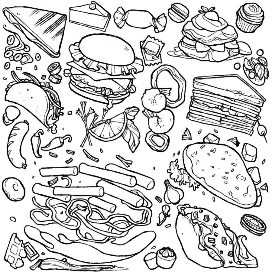 D Line Drawings Locations : Food by soojinp on deviantart