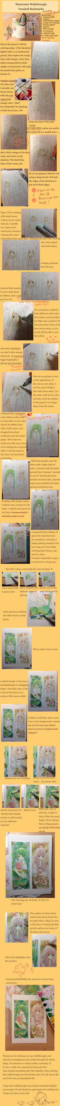 Watercolor Walkthrough: Vocaloid Bookmarks by carrot-milk