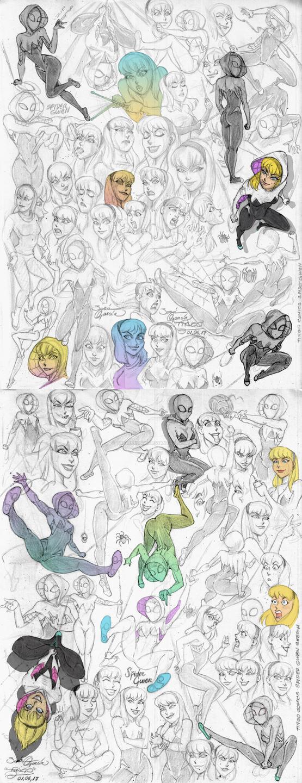 Spider Gwen bocetos by tingocomics