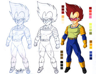 Vegeta first color in animation by tingocomics