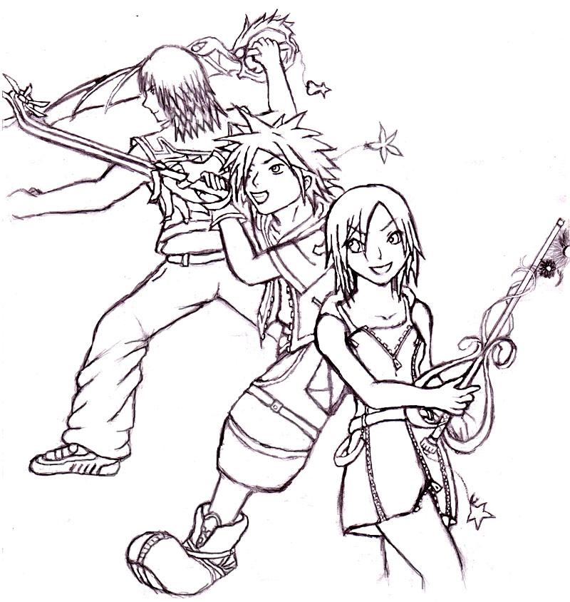 Kingdom Hearts Lineart : Kingdom hearts lineart by unkown know on deviantart