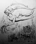Fish headed aquatic humanoid