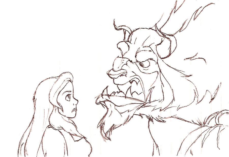 Beauty and the beast sketch by MaryKms