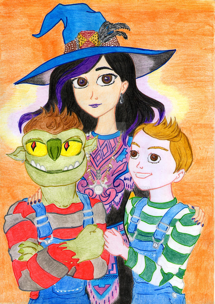 Trollhunters.Adult Claire and brothers on Hallowen by Wladlena