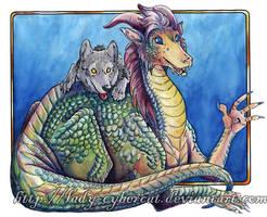 Rainbow Dragon n Wolf by lady-cybercat