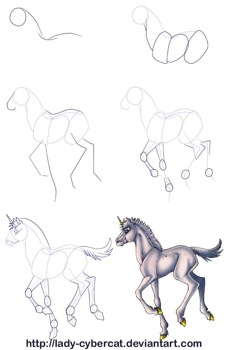 ... How To Draw A Baby Unicorn Tutorial By Lady Cybercat