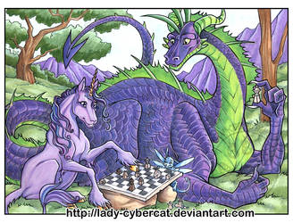 Dragon and Unicorn Play Chess by lady-cybercat