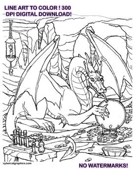 Dragon Line Art to Color Digital Download