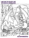 Dragon Line Art to Color Digital Download