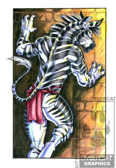 Zebra Against Wall no tattoo by lady-cybercat