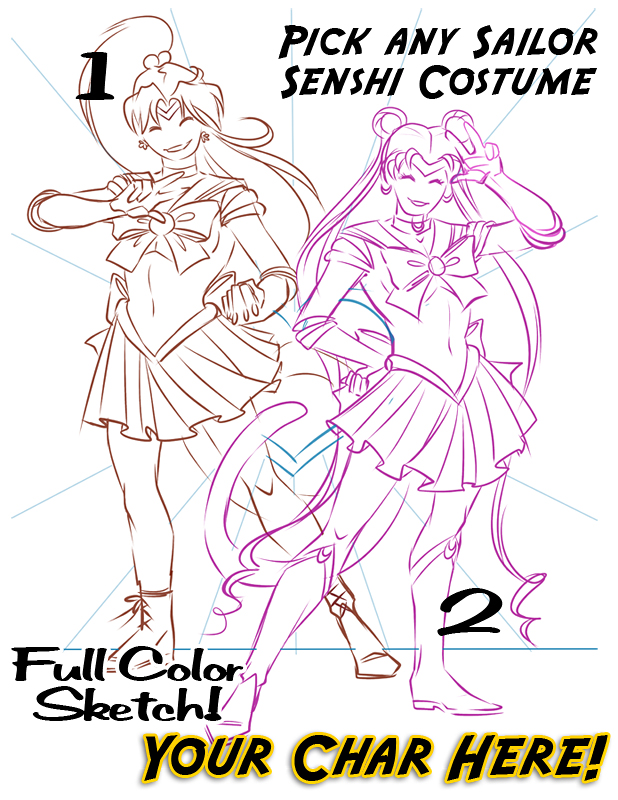 Full Color Sketch Auction YCH Sailor Scouts by lady-cybercat